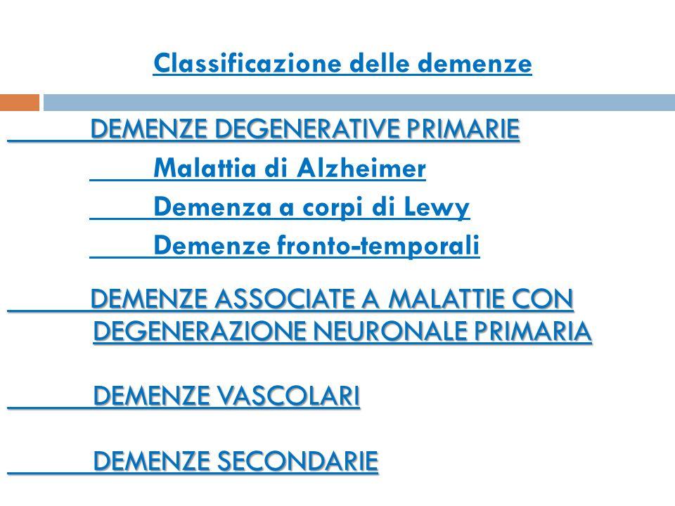 Classificazione DEMENZE DEGENERATIVE PRIMARIE DEMENZE DEGENERATIVE PRIMARIE Malattia di Alzheimer Demenze fronto-temporali Demenza a corpi di Lewy DEMENZE ASSOCIATE A MALATTIE CON DEGENERAZIONE NEURONALE PRIMARIA DEMENZE ASSOCIATE A MALATTIE CON DEGENERAZIONE NEURONALE PRIMARIA DEMENZE VASCOLARI DEMENZE SECONDARIE Classificazione delle demenze