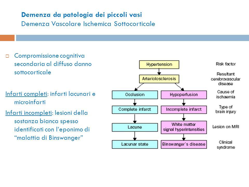 Demenza da patologia dei piccoli vasi Demenza Vascolare Ischemica Sottocorticale  Compromissione cognitiva secondaria al diffuso danno sottocorticale