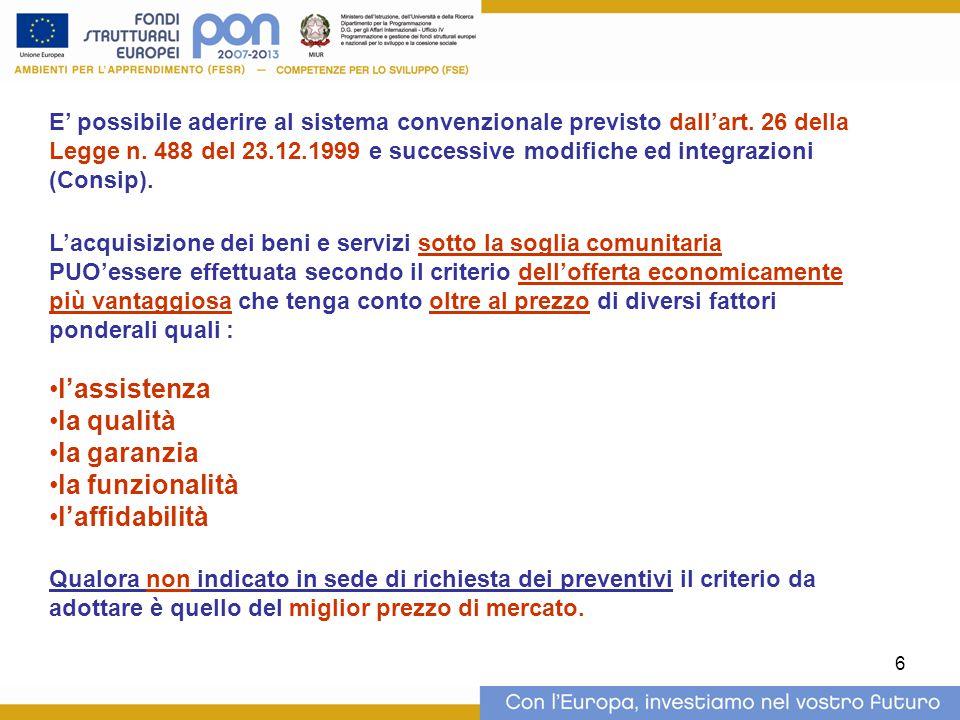 7 ACQUISIZIONE DI BENI E SERVIZI SOTTO SOGLIA COMUNITARIA ACQUISTI IN ECONOMIA Art.