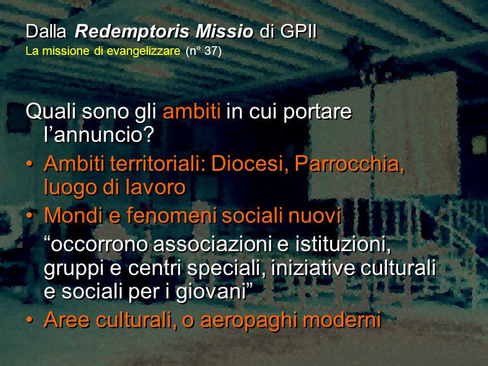 Dalla Redemptoris Missio di GPII La missione di evangelizzare (n° 37) Quali sono gli ambiti in cui portare l'annuncio? Ambiti territoriali: Diocesi, P