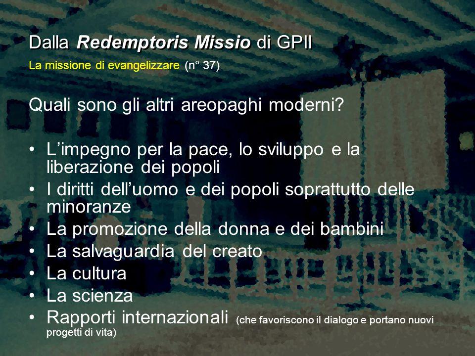 Dalla Redemptoris Missio di GPII Quali sono gli altri areopaghi moderni? L'impegno per la pace, lo sviluppo e la liberazione dei popoli I diritti dell