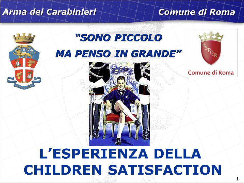 """1 """"SONO PICCOLO MA PENSO IN GRANDE"""" Arma dei Carabinieri Comune di Roma L'ESPERIENZA DELLA CHILDREN SATISFACTION"""