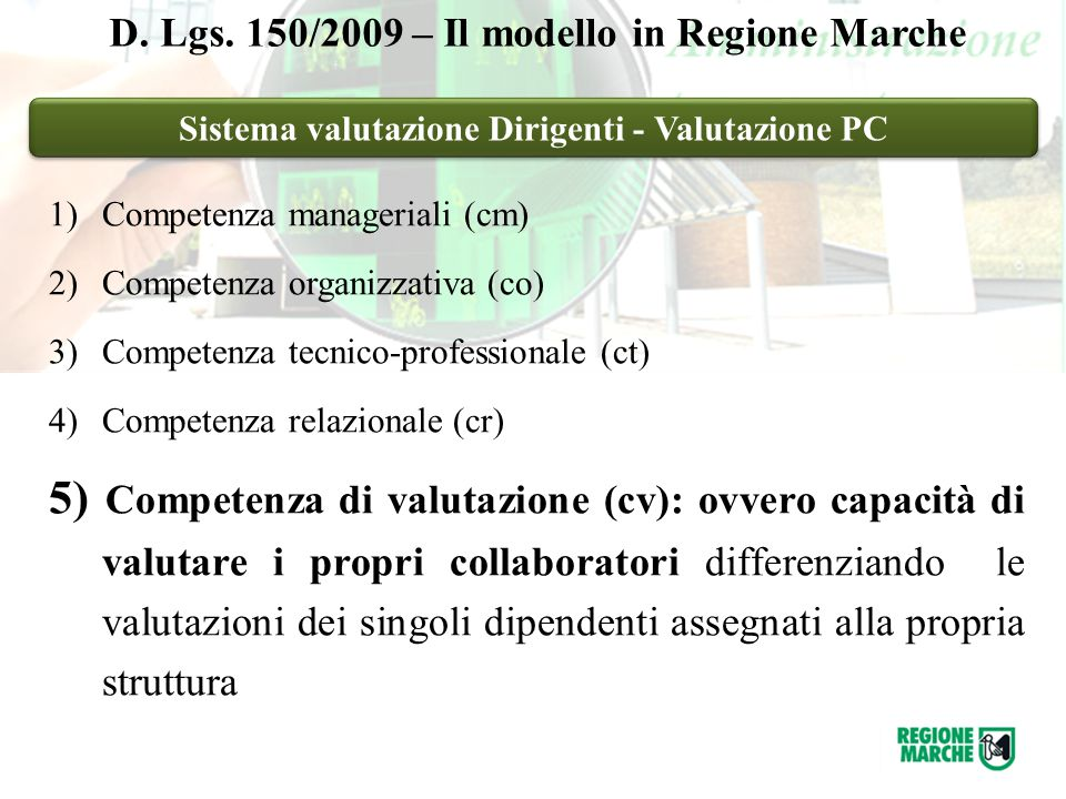 Sistema valutazione Dirigenti - Valutazione PC D.Lgs.