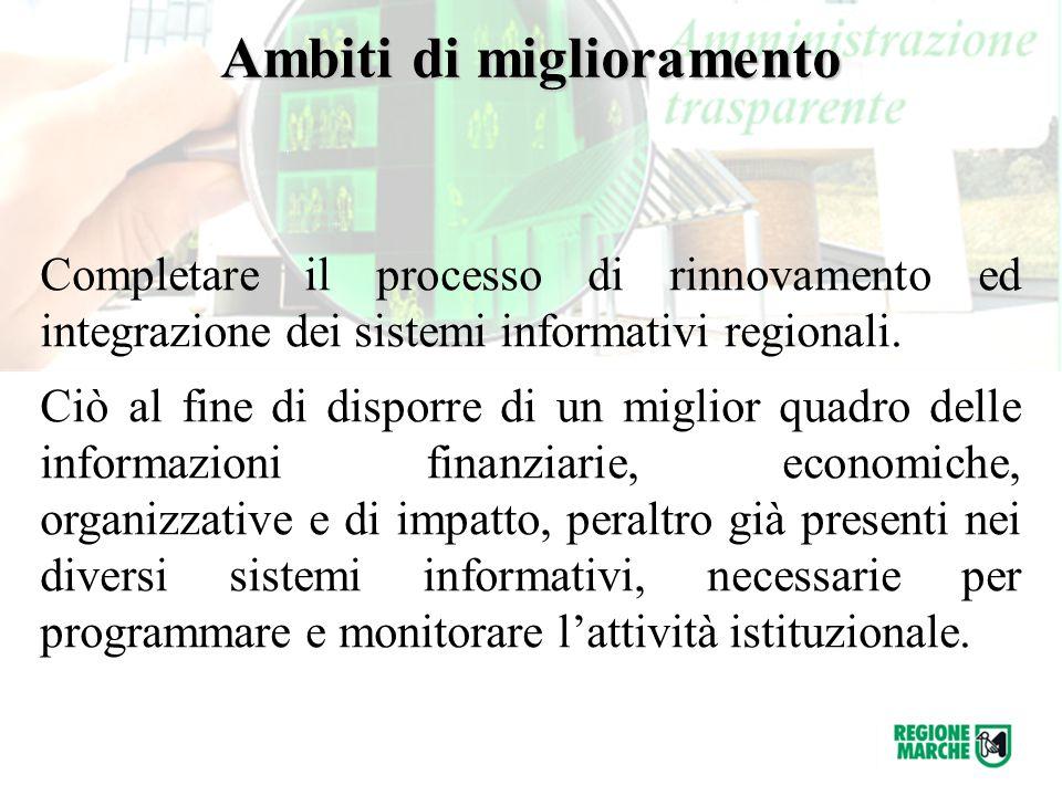 Completare il processo di rinnovamento ed integrazione dei sistemi informativi regionali.