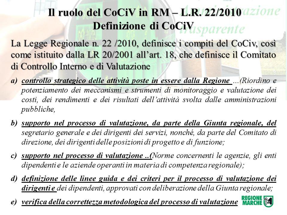 La Legge Regionale n. 22 /2010, definisce i compiti del CoCiv, così come istituito dalla LR 20/2001 all'art. 18, che definisce il Comitato di Controll