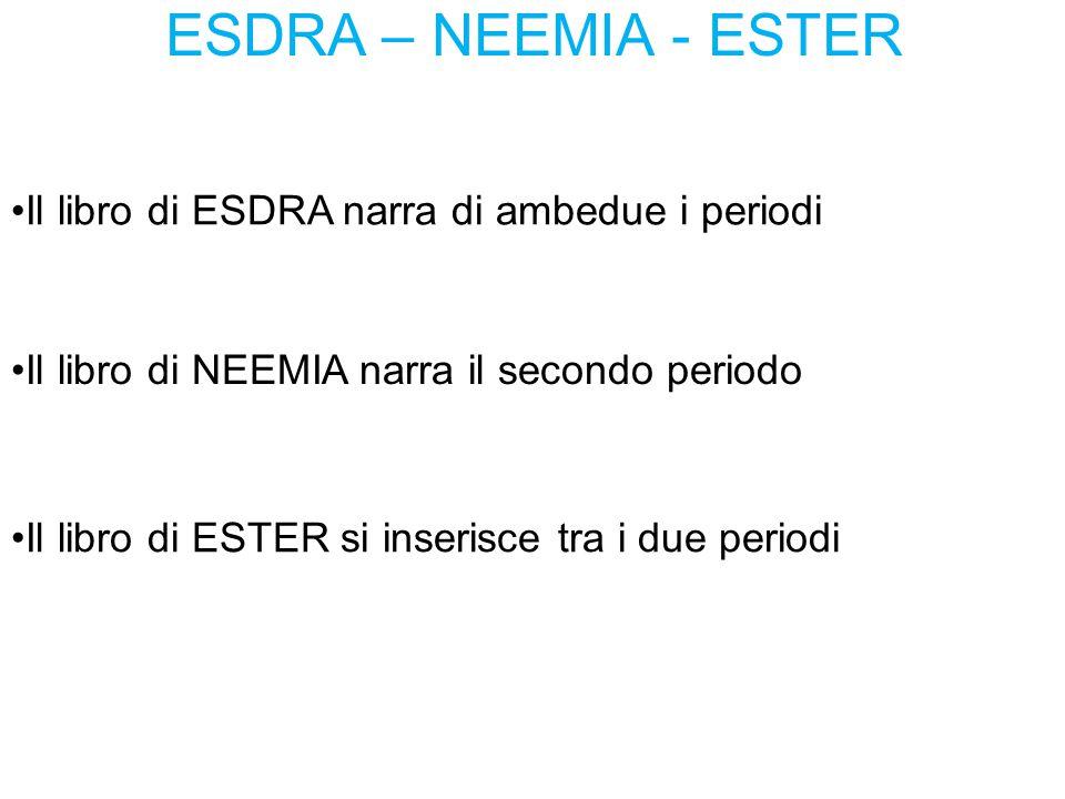 ESDRA – NEEMIA - ESTER Il libro di ESDRA narra di ambedue i periodi Il libro di NEEMIA narra il secondo periodo Il libro di ESTER si inserisce tra i d