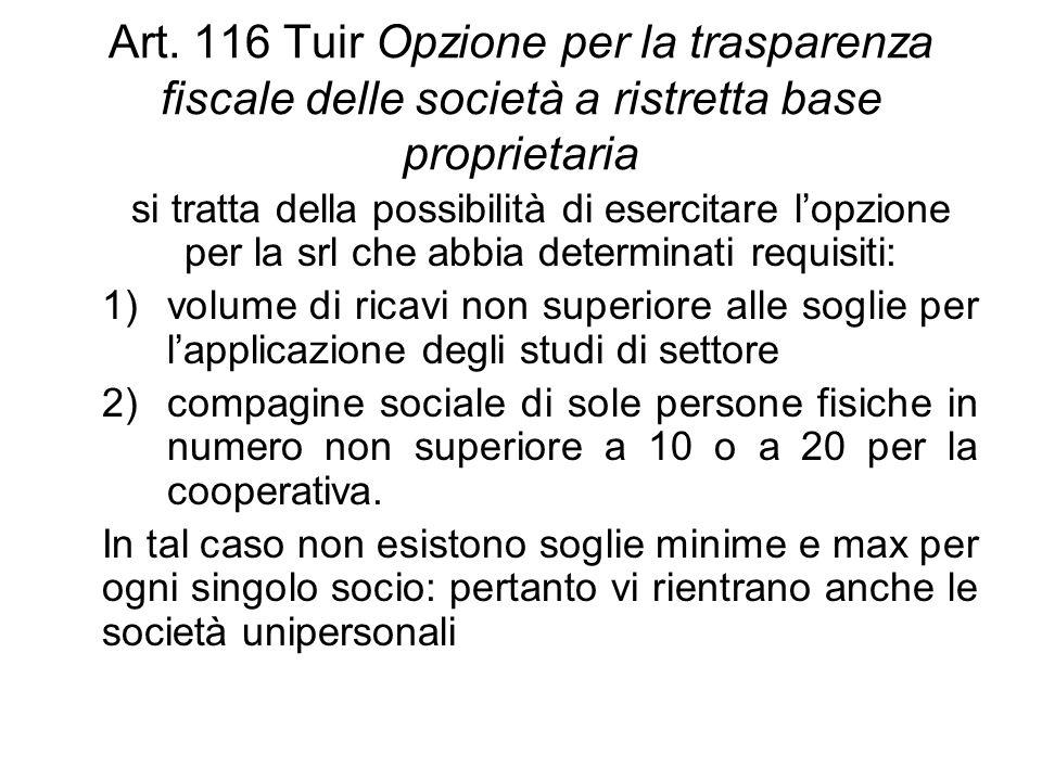 Art. 116 Tuir Opzione per la trasparenza fiscale delle società a ristretta base proprietaria si tratta della possibilità di esercitare l'opzione per l