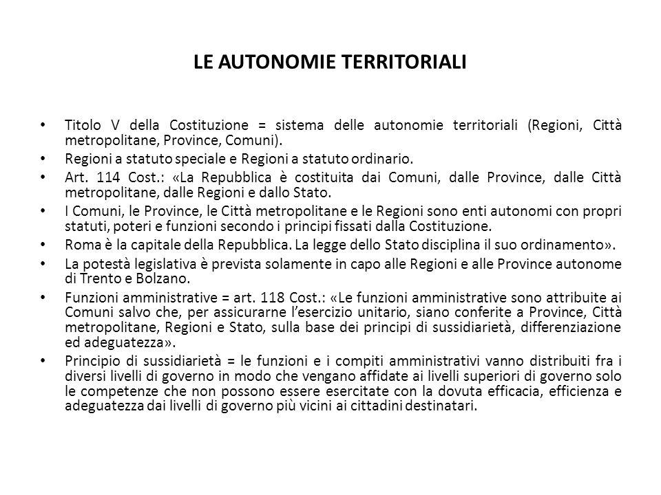 Regioni a statuto speciale: art.116 Cost.