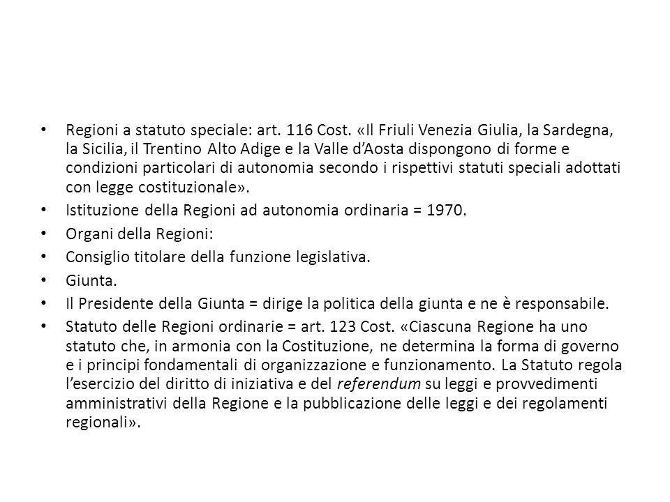 Art.117 Cost.: ripartizione delle competenza fra Stato e Regioni.