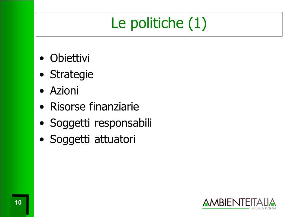 10 Le politiche (1) Obiettivi Strategie Azioni Risorse finanziarie Soggetti responsabili Soggetti attuatori