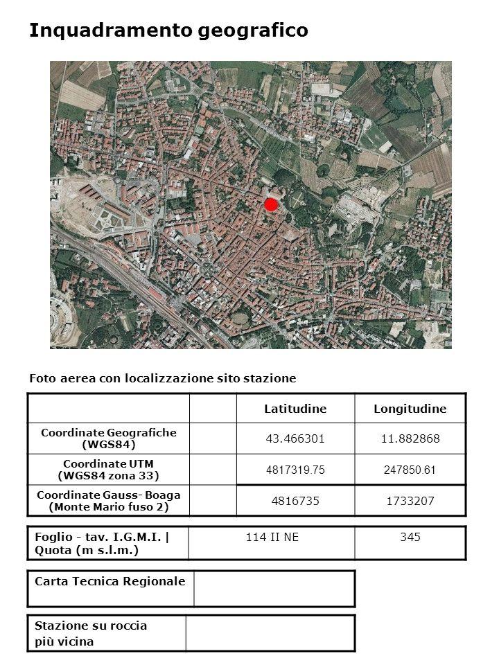 Foto aerea con localizzazione sito stazione Foglio - tav. I.G.M.I. | Quota (m s.l.m.) 114 II NE345 Inquadramento geografico LatitudineLongitudine Coor