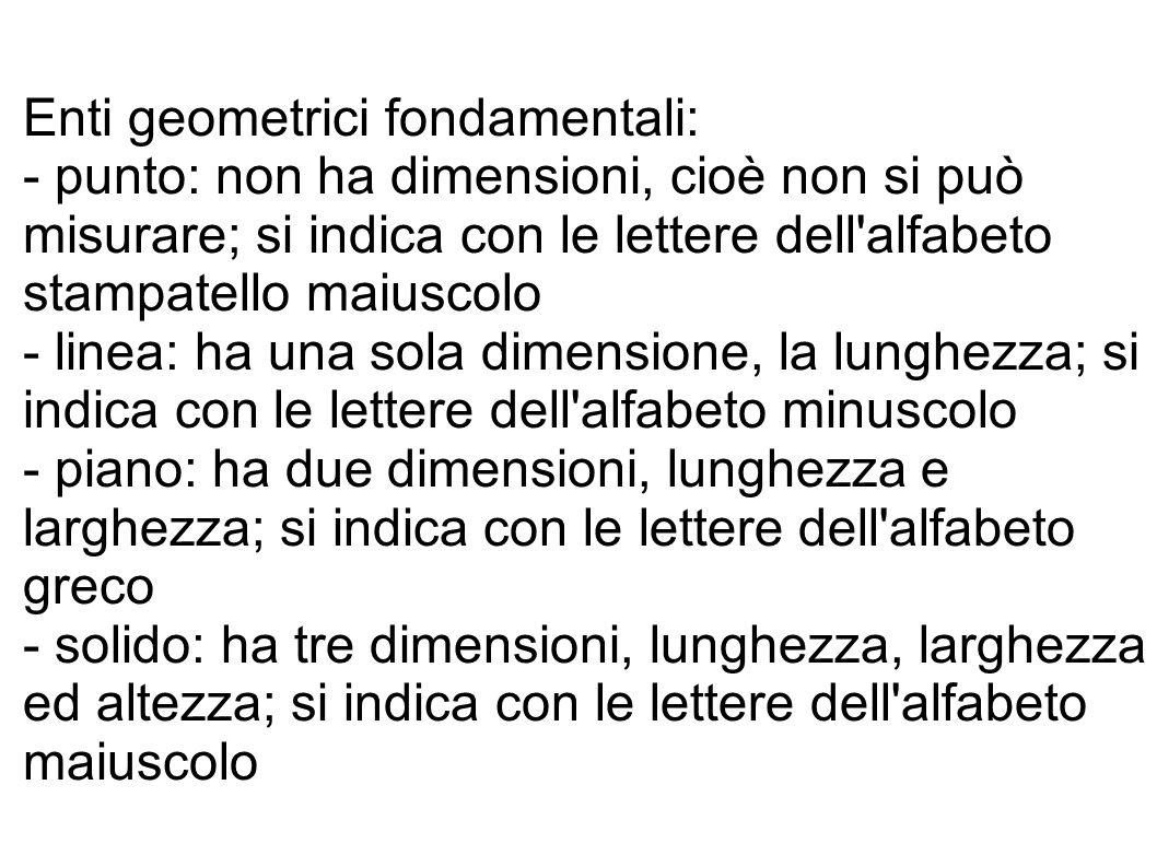 Enti geometrici fondamentali: - punto: non ha dimensioni, cioè non si può misurare; si indica con le lettere dell'alfabeto stampatello maiuscolo - lin