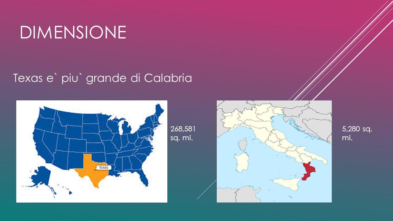 DIMENSIONE Texas e` piu` grande di Calabria 5,280 sq. mi. 268,581 sq. mi.