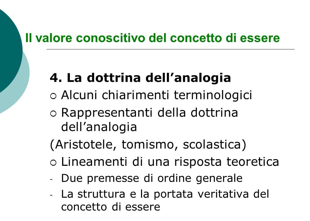 Il valore conoscitivo del concetto di essere 4. La dottrina dell'analogia  Alcuni chiarimenti terminologici  Rappresentanti della dottrina dell'anal