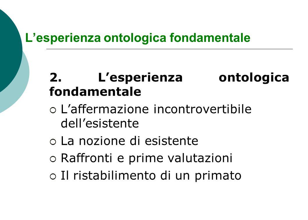 L'esperienza ontologica fondamentale 2. L'esperienza ontologica fondamentale  L'affermazione incontrovertibile dell'esistente  La nozione di esisten