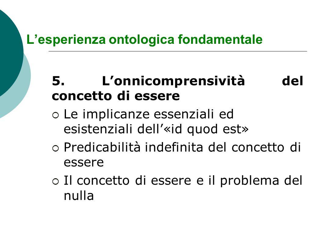 L'esperienza ontologica fondamentale 5. L'onnicomprensività del concetto di essere  Le implicanze essenziali ed esistenziali dell'«id quod est»  Pre