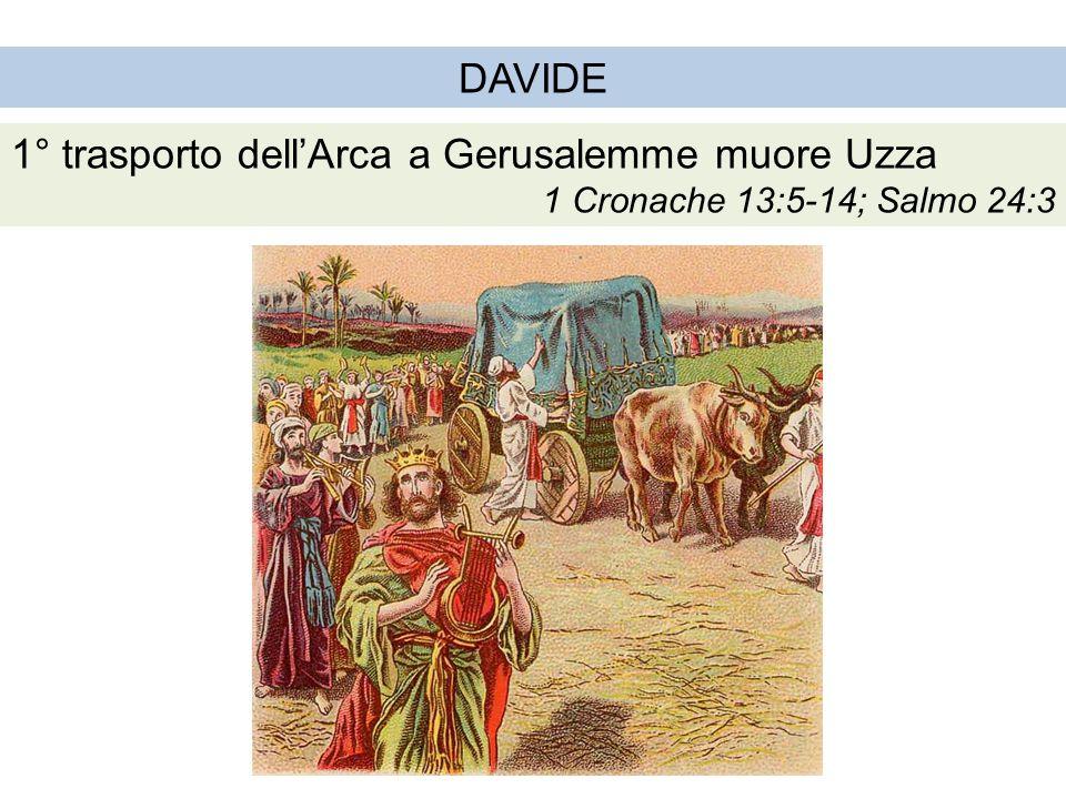 DAVIDE 2° trasporto dell'Arca a Gerusalemme Dio benedice il popolo 1 Cronache 15:1-2,11-15;