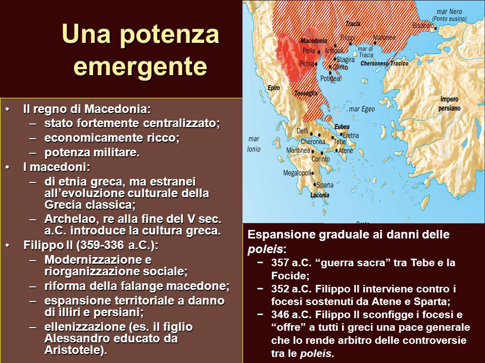 Una potenza emergente Il regno di Macedonia:Il regno di Macedonia: –stato fortemente centralizzato; –economicamente ricco; –potenza militare. I macedo