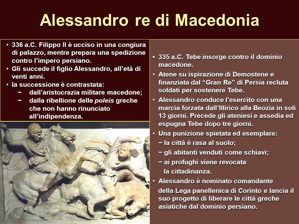 Alessandro re di Macedonia 335 a.C. Tebe insorge contro il dominio macedone.335 a.C. Tebe insorge contro il dominio macedone. Atene su ispirazione di