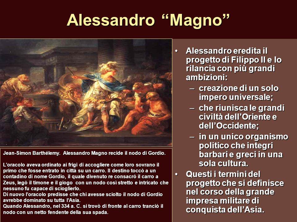 """Alessandro """"Magno"""" Alessandro eredita il progetto di Filippo II e lo rilancia con più grandi ambizioni:Alessandro eredita il progetto di Filippo II e"""