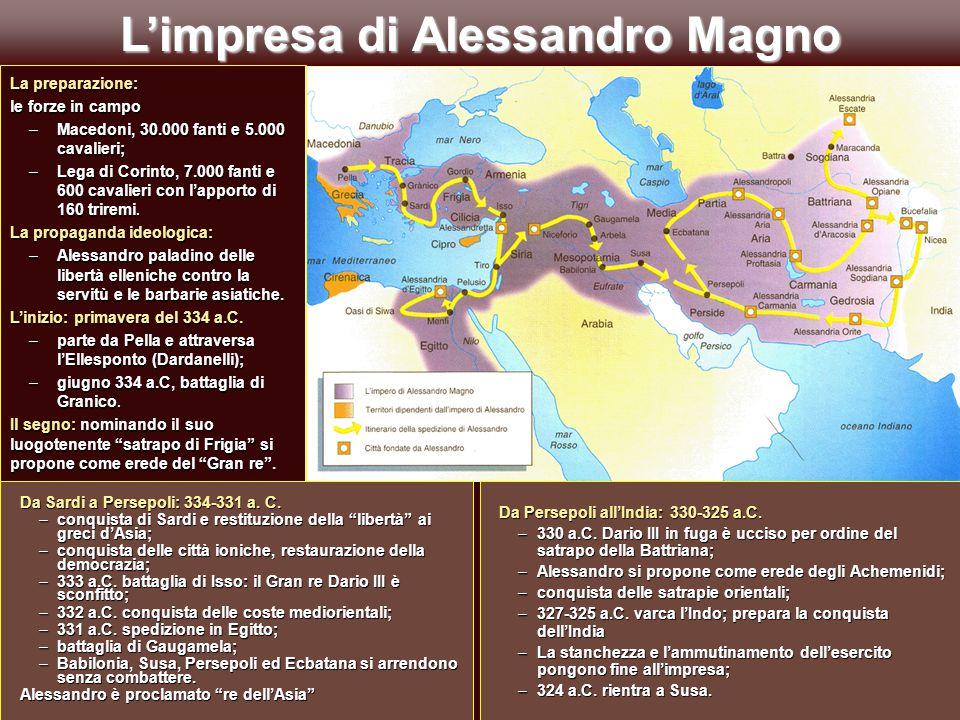 """L'impresa di Alessandro Magno Da Sardi a Persepoli: 334-331 a. C. –conquista di Sardi e restituzione della """"libertà"""" ai greci d'Asia; –conquista delle"""