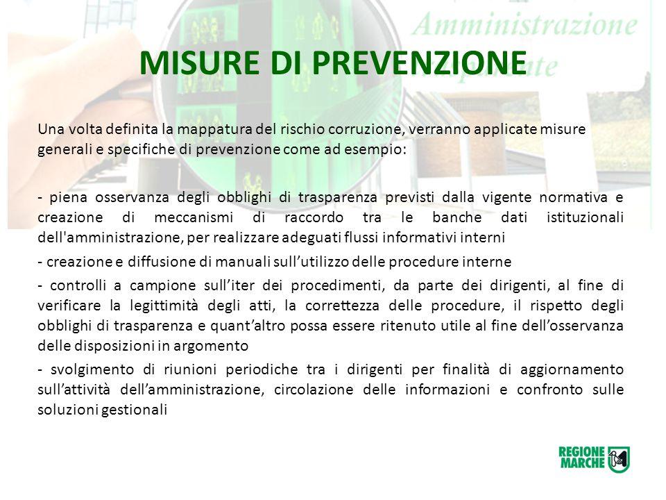 MISURE DI PREVENZIONE Una volta definita la mappatura del rischio corruzione, verranno applicate misure generali e specifiche di prevenzione come ad e