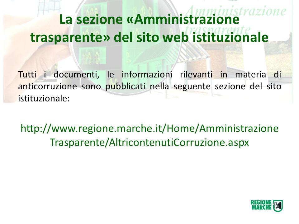 La sezione «Amministrazione trasparente» del sito web istituzionale Tutti i documenti, le informazioni rilevanti in materia di anticorruzione sono pub