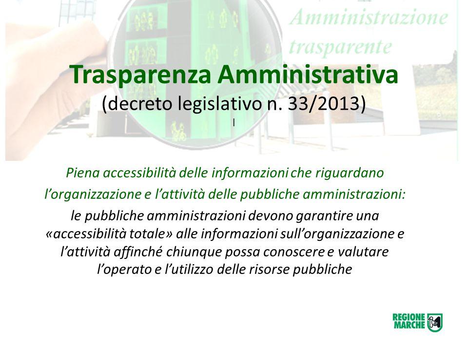 Trasparenza Amministrativa (decreto legislativo n. 33/2013) l Piena accessibilità delle informazioni che riguardano l'organizzazione e l'attività dell