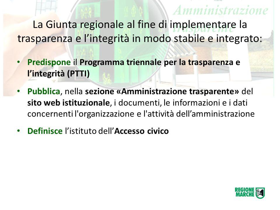La Giunta regionale al fine di implementare la trasparenza e l'integrità in modo stabile e integrato: Predispone il Programma triennale per la traspar