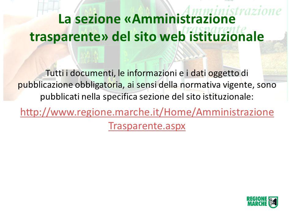 La sezione «Amministrazione trasparente» del sito web istituzionale Tutti i documenti, le informazioni e i dati oggetto di pubblicazione obbligatoria,