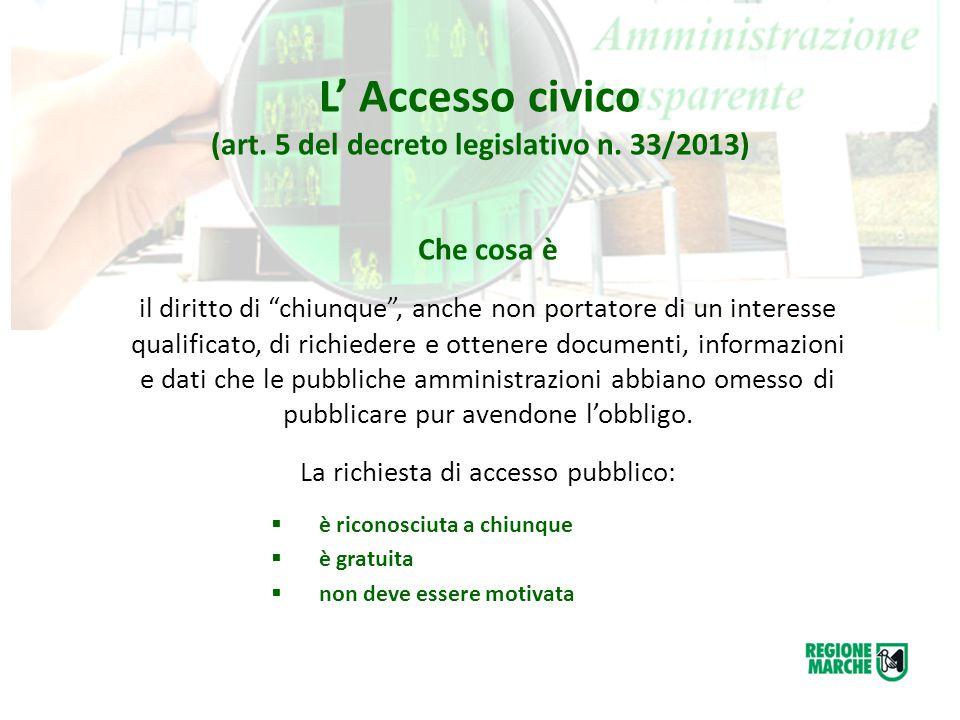 """L' Accesso civico (art. 5 del decreto legislativo n. 33/2013) Che cosa è il diritto di """"chiunque"""", anche non portatore di un interesse qualificato, di"""