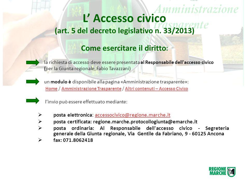 L' Accesso civico (art. 5 del decreto legislativo n. 33/2013) Come esercitare il diritto : la richiesta di accesso deve essere presentata al Responsab