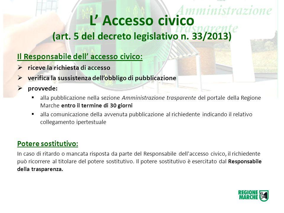 L' Accesso civico (art. 5 del decreto legislativo n. 33/2013) Il Responsabile dell' accesso civico:  riceve la richiesta di accesso  verifica la sus