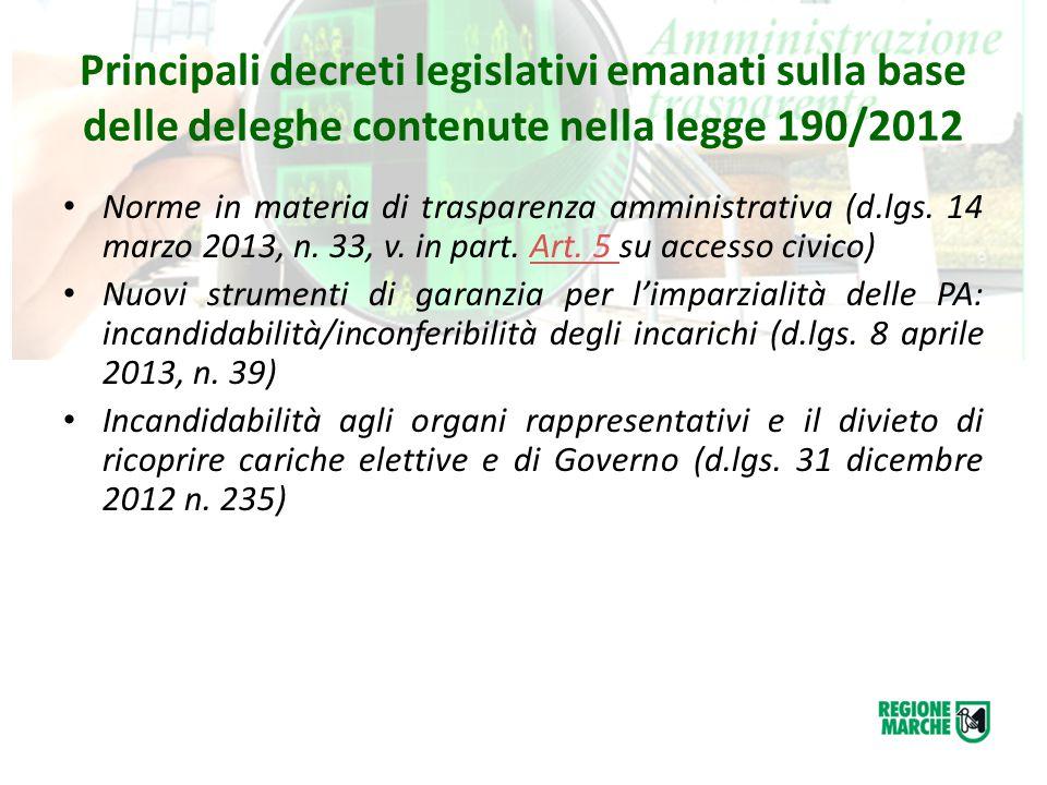 Principali provvedimenti adottati dalla Regione Marche in materia di anticorruzione DGR 27 gennaio 2014, n.