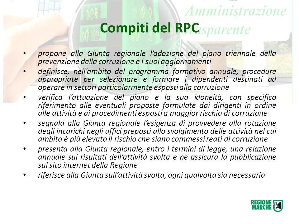 Compiti del RPC propone alla Giunta regionale l'adozione del piano triennale della prevenzione della corruzione e i suoi aggiornamenti definisce, nell