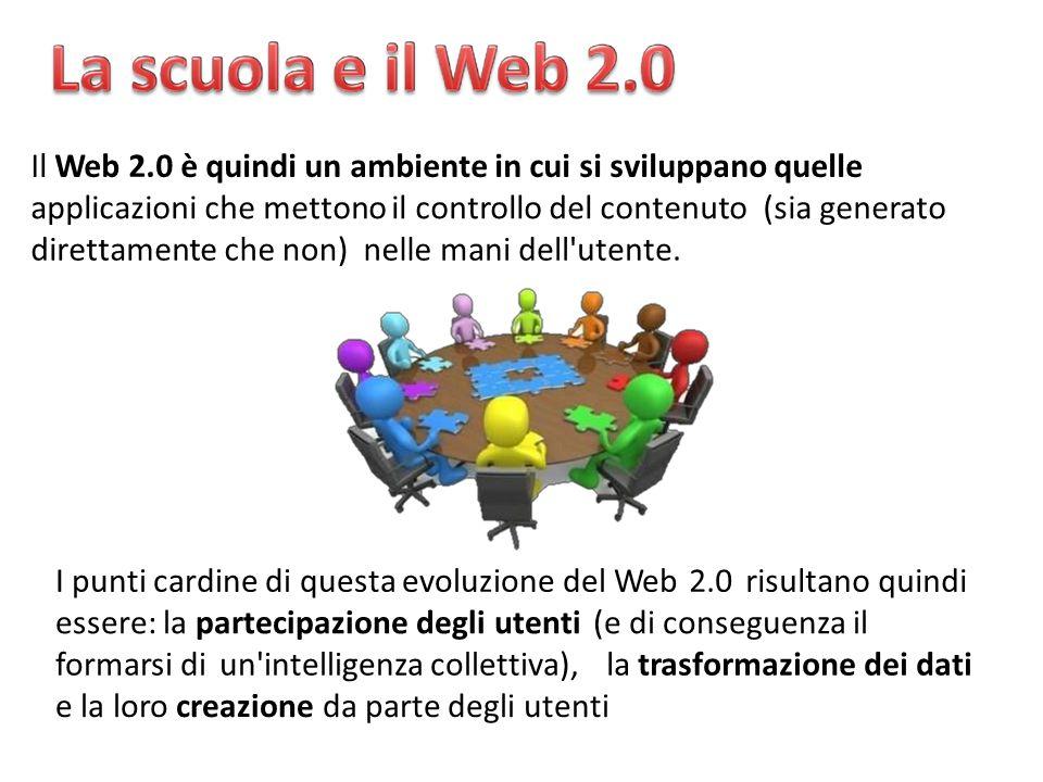 Il Web 2.0 è quindi un ambiente in cui si sviluppano quelle applicazioni che mettono il controllo del contenuto(sia(siagenerato direttamentechenon)nellemanidell utente.