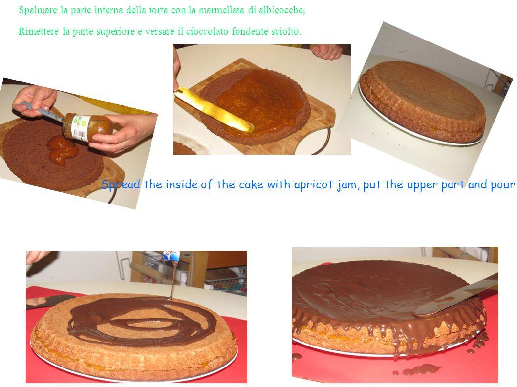 Spalmare la parte interna della torta con la marmellata di albicocche, Rimettere la parte superiore e versare il cioccolato fondente sciolto. Spread t