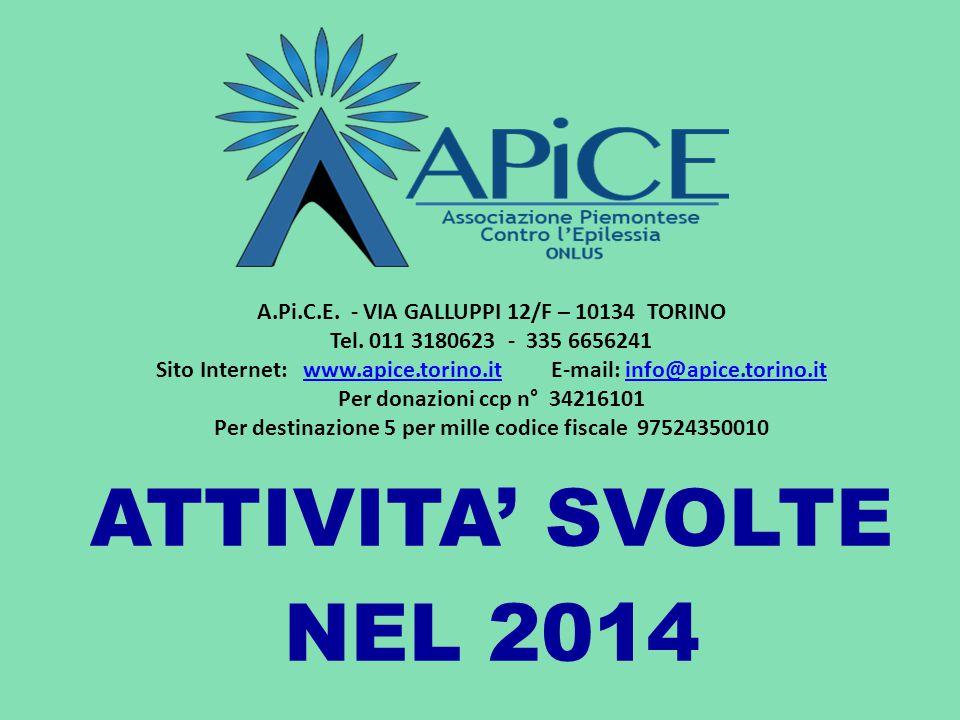 ATTIVITA' SVOLTE NEL 2014 A.Pi.C.E. - VIA GALLUPPI 12/F – 10134 TORINO Tel. 011 3180623 - 335 6656241 Sito Internet: www.apice.torino.it E-mail: info@