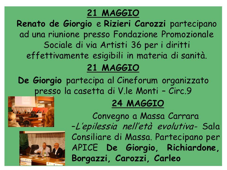 21 MAGGIO Renato de Giorgio e Rizieri Carozzi partecipano ad una riunione presso Fondazione Promozionale Sociale di via Artisti 36 per i diritti effettivamente esigibili in materia di sanità.