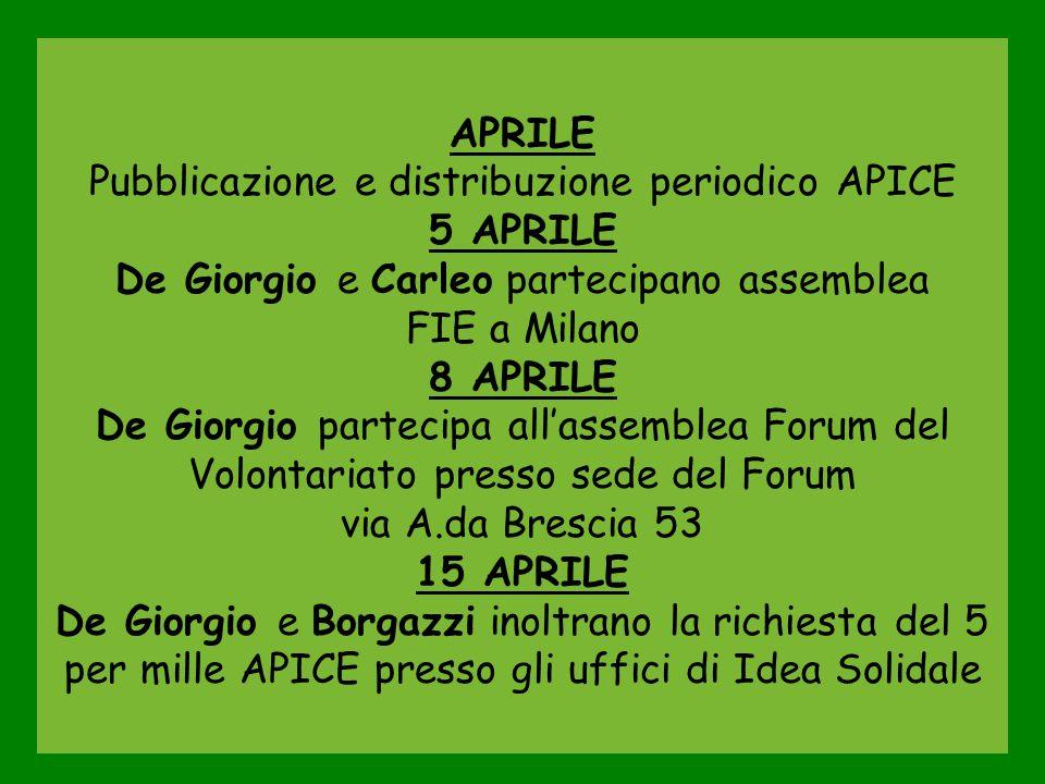 APRILE Pubblicazione e distribuzione periodico APICE 5 APRILE De Giorgio e Carleo partecipano assemblea FIE a Milano 8 APRILE De Giorgio partecipa all