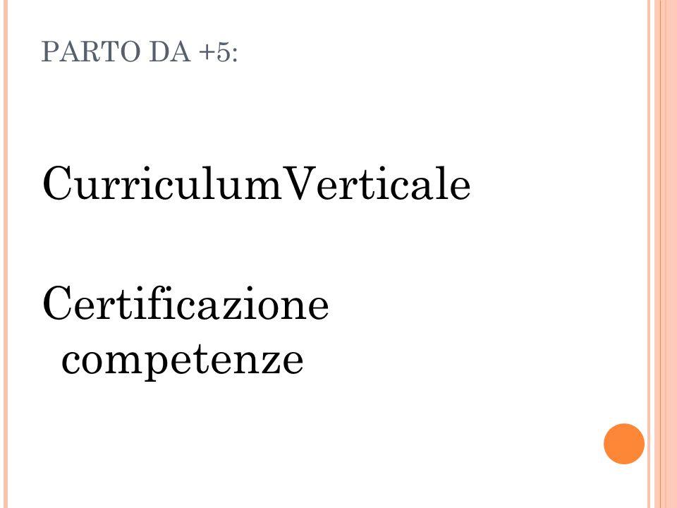 PARTO DA +5: CurriculumVerticale Certificazione competenze