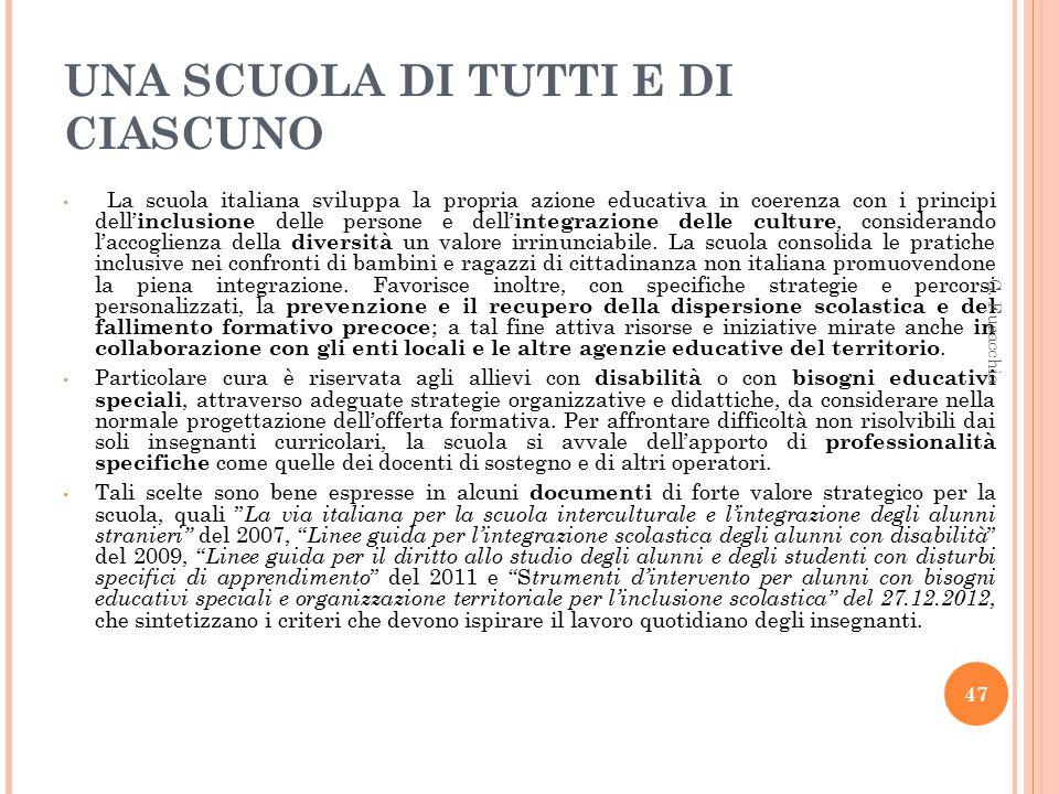 UNA SCUOLA DI TUTTI E DI CIASCUNO La scuola italiana sviluppa la propria azione educativa in coerenza con i principi dell' inclusione delle persone e dell' integrazione delle culture, considerando l'accoglienza della diversità un valore irrinunciabile.