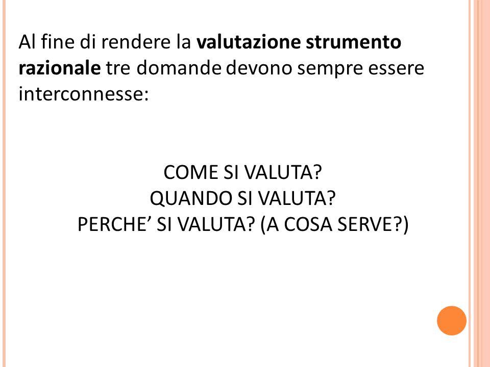 Al fine di rendere la valutazione strumento razionale tre domande devono sempre essere interconnesse: COME SI VALUTA.