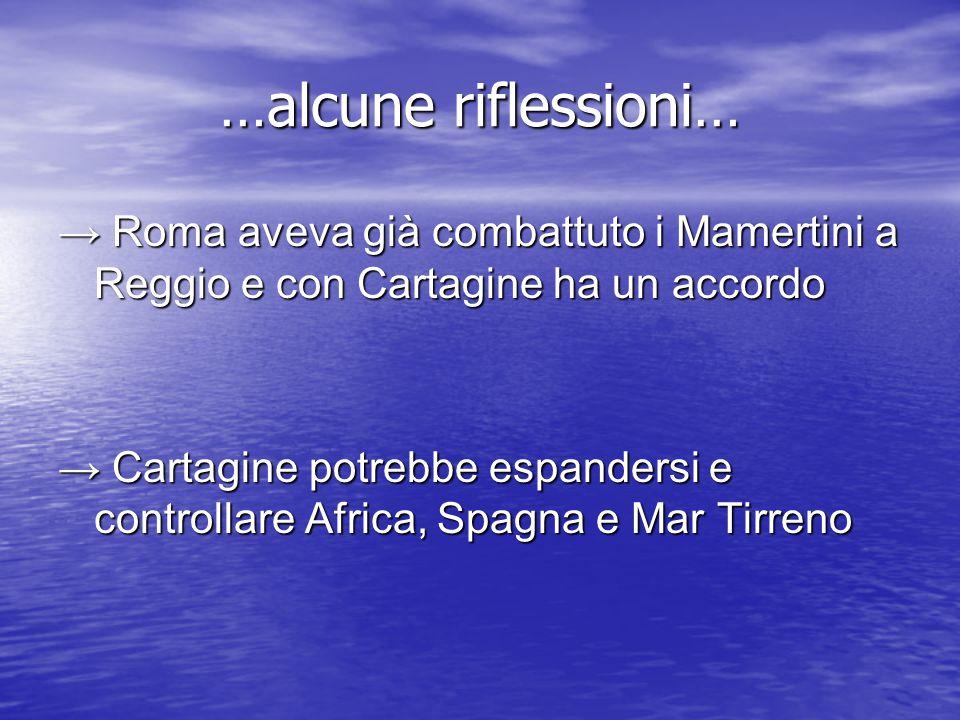 …alcune riflessioni… → Roma aveva già combattuto i Mamertini a Reggio e con Cartagine ha un accordo → Cartagine potrebbe espandersi e controllare Africa, Spagna e Mar Tirreno