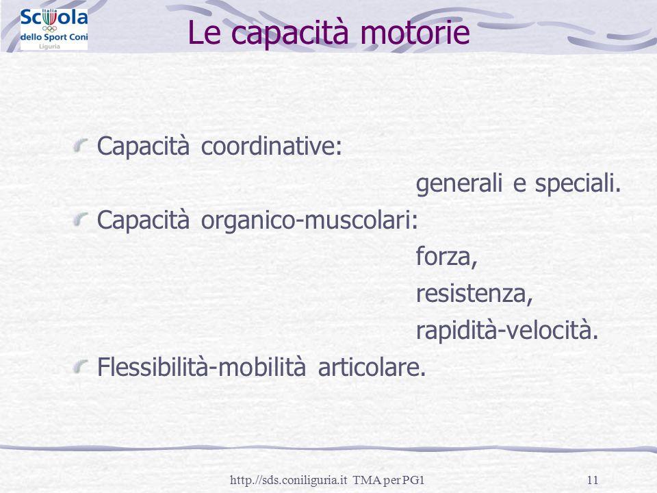 11 Le capacità motorie Capacità coordinative: generali e speciali. Capacità organico-muscolari: forza, resistenza, rapidità-velocità. Flessibilità-mob