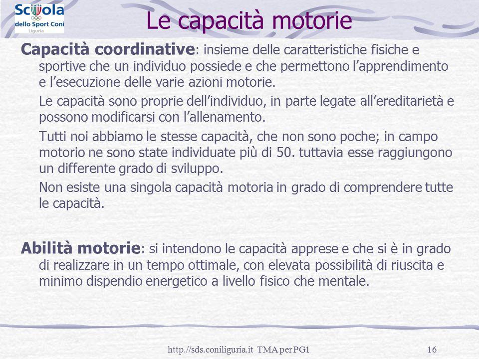 16 Le capacità motorie Capacità coordinative : insieme delle caratteristiche fisiche e sportive che un individuo possiede e che permettono l'apprendim