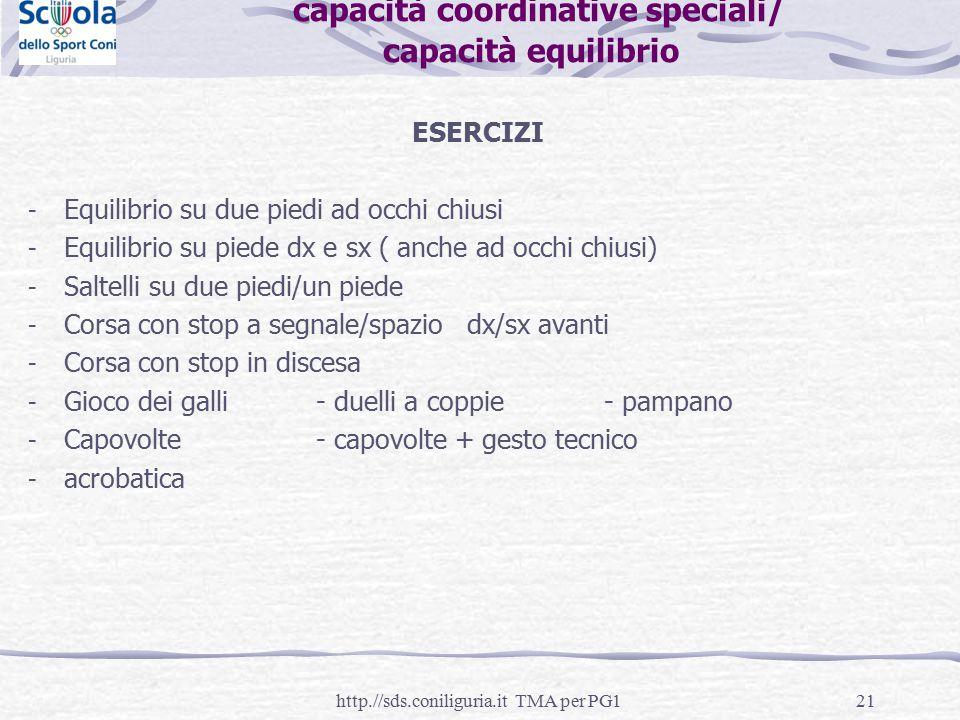 21 capacità coordinative speciali/ capacità equilibrio ESERCIZI - Equilibrio su due piedi ad occhi chiusi - Equilibrio su piede dx e sx ( anche ad occ