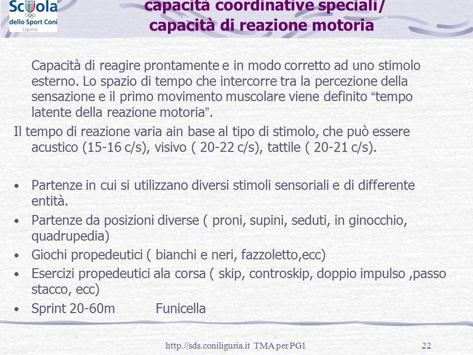 22 capacità coordinative speciali/ capacità di reazione motoria Capacità di reagire prontamente e in modo corretto ad uno stimolo esterno. Lo spazio d