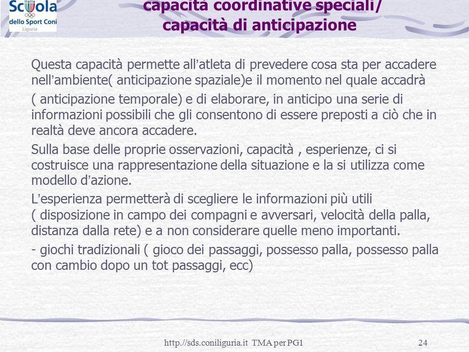 24 capacità coordinative speciali/ capacità di anticipazione Questa capacità permette all'atleta di prevedere cosa sta per accadere nell'ambiente( ant