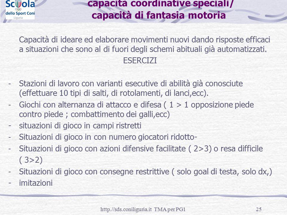 25 capacità coordinative speciali/ capacità di fantasia motoria Capacità di ideare ed elaborare movimenti nuovi dando risposte efficaci a situazioni c